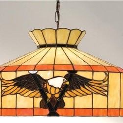"""Meyda Tiffany - Meyda Tiffany 13879 Stained Glass / Tiffany Down Lighting Pendant Victo - 20"""" W Victory Eagle Swag PendantThe American Bald Eagle Has Long Been A Symbol Of Freedom And Majesty. This Swag Pendant Featuring The Majestic Bird Soaring Over A Victory V Is Crafted with Amber and Brown Glass on a Beige shade with Multi Toned Amber Green BandsIncludes Canopy, 12 Feet of Chain and 15 feet of wire, Height Adjustable from 15"""" to 158""""1 100w max medium base bulb (Not Included)"""