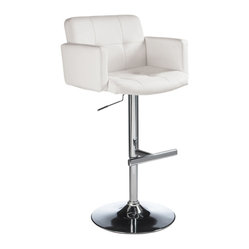 Sunpan - Churchill Adjustable Barstool, White - Ultra-modern barstool offers perfect mix of style and comfort
