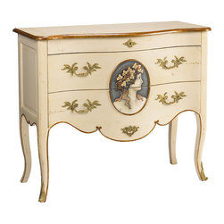 Frontgate - Cheval Commode/Chest - Beige finish with a hand-painted cameo portrait. Scalloped skirt. Gold bat-wing drawer pulls, trim, and embellishments. Coordinates with other items from our French Heritage Park Avenue Collection. Quietly lovely and exceedingly feminine, our Cheval Commode/Chest restores a bit of formality to the act of dressing. The cherry and mahogany wood chest features two drawers and a lift-top compartment with a mirror and divided storage for jewelry, makeup or other dressing necessities.  .  .  .  .