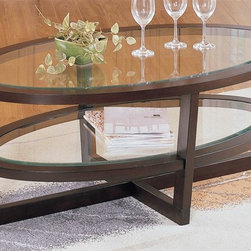 Homelegance - Vista Cocktail Table w Shelf - Oval shape. Sleek lines and bold curves. Inset display shelves. Glass top. Espresso cherry finish. 48 in. W x 28 in. D x 18 in. H
