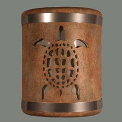 CDS Lighting Studio - Sandstone 9-Inch Wall Sconce with Sea Turtle Cutout Design - Turtles are an important part of ocean side communities, with our beautiful Turtle design, it can be a revered look for your area too. This light is accented on the top and bottom with stainless steel bands. It is finished in the warm and cool tones of Sandstone multi-color, which include a mix of warm brown, light gray and cream colors with a subtle antique rub finish. Side wall wash holes give a beautiful fan of light on each side and an hour glass of light shines from the top and bottom. Easy to install. Includes an installation kit and instructions.  -Open top and bottom. -Made in the USA. -Low VOC waterbase paint. -Due to the handcrafted nature of our ceramic lights, each design is hand cut in to the wall sconce and is truly unique.  -Hand applied multi-color finishes may vary. CDS Lighting Studio - 113-359-653-852-90