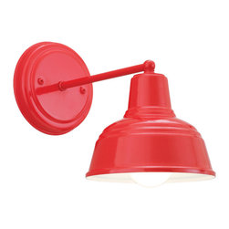 MINI DERBY WAREHOUSE SHADE WALL LIGHT - Mini Derby Wall Light shown in 97-Red finish with White Interior and BLO-M1 Mounting
