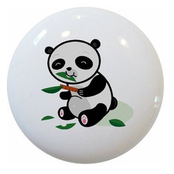 Carolina Hardware and Decor, LLC - Panda Cub Ceramic Cabinet Drawer Knob - New 1 1/2 inch ceramic cabinet, drawer, or furniture knob with mounting hardware included. Also works great in a bathroom or on bi-fold closet doors (may require longer screws). Item can be wiped clean with a soft damp cloth. Great addition and nice finishing touch to any room!