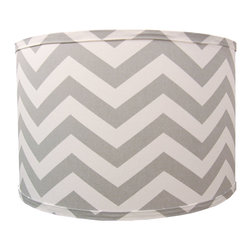 Doodlefish - Small Grey Chevron Shade - Chevron and Grey combine on this great fabric to make this trendy and hip barrel Lamp Shade. The shade is available in 12x12x10 and 14x14x11. All shades are made to order in the USA and have harp and finial style fittings.