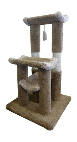 "MAJESTIC PET PRODUCTS - 45"" Kitty Cat Jungle Gym - Covered in designer carpet that makes it worthy of any room in your house, this cat gym provides three lounging platforms on which your cat can nap or supervise the household. Sisal rope scratching areas allow your cat to claw to her heart's content, and a dangling cat toy will provide hours of entertainment. Easy for humans to assemble."