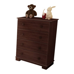 South Shore - South Shore Sunny 4 Drawer Dresser in Royal Cherry Finish - South Shore - Chests - 3346034 - This four-drawer chest is perfect for storing baby clothes in a neat and tidy manner.