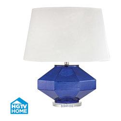 Dimond Lighting - Dimond Lighting Guild Table Lamp, Mercury Sapphire - Crystal Base