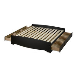 Prepac - Mate's King Platform Storage Bed in Black - * Six sturdy drawers. Drawers with solid wood sides glide on metal runners. Finger pulls at bottom of each drawer front for easy opening. Suitable for standard king-sized mattresses. Wood slats positioned length-wise distributes body weight evenly. Durable rich finish. CARB-compliant. Total weight capacity: 500 lbs.. Warranty: Five years. Made from engineered solid wood, MDF and plywood. Made in North America. Assembly required. Internal drawers: 23.25 in. W x 18 in. D x 5 in. H. Overall: 81.5 in. L x 78.5 in. W x 18.75 in. HEnjoy floor space and storage with the King Mates Platform Storage Bed. Drawers can store any clothing, linens and blankets that go in a traditional chest, without taking up more room in your bedroom. Dont worry about a box spring, the slat support system needs only a mattress. Sleekly designed and practical, this mates bed lets you get the most out of your king-sized mattress.