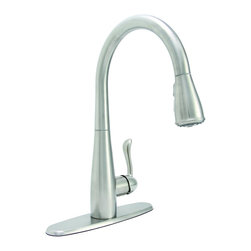 PREMIER - Premier 284453 Sanibel Lead-Free Single-Handle Pull-Down Kitchen Faucet, Stainle - For exceptional style and unparalleled performance, choose a striking Sanibel pull-down kitchen faucet to add convenience and charm to your kitchen. Its impressive height of nearly sixteen inches combined with its streamlined, high-arc design will make this faucet the focal point of any kitchen. Sanibel delivers distinctive design, extreme flexibility, and robust features. Switch between a steady flow to a powerful spray with the simple touch of a button. Sanibel pull-down faucets, with their generous retractable hose extension, make cleaning, rinsing, filling, and spraying even easier. The spout swivels 360 degrees to provide complete sink coverage. In addition to offering a sleek appearance, its high-arc spout is perfect for the demands of filling modern cookware. The pause button on the pull-down spray head enables you to stop the flow of water. Use the pause button while the spray head is outside of the sink or press pause to conserve water during clean-up or in between filling cookware. - Manufacturer: Premier