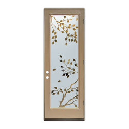 Sans Soucie Art Glass (door frame material Plastpro) - Glass Front Entry Door Sans Soucie Art Glass Cherry Tree - Sans Soucie Art Glass Front Door with Sandblast Etched Glass Design. Get the privacy you need without blocking light, thru beautiful works of etched glass art by Sans Soucie!This glass is semi-private. Door material will be unfinished, ready for paint or stain.Bronze Sill, Sweep and Hinges. Available in other finishes, sizes, swing directions and door materials.Dual Pane Tempered Safety Glass.Cleaning is the same as regular clear glass. Use glass cleaner and a soft cloth.