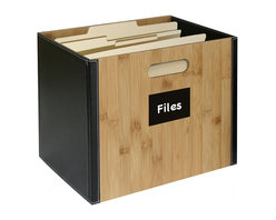Great Useful Stuff - Bamboo Storage Collection File Box - You found just the right desk for your office, but no one sees it because it's always covered in papers. Regain control of your workspace and your style with this sophisticated file box. The solid bamboo front and back is accented with black leatherette trim, creating a chic way to organize your files and magazines.