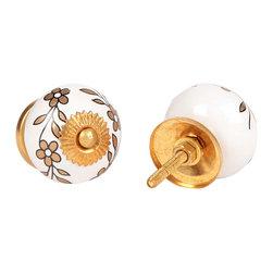 MarktSq - Ceramic Knob With Golden Flower (Set Of 2) - Hand painted ceramic knob with golden flowers and hardware