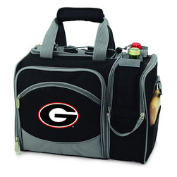 Picnic Time - University of Georgia Malibu Picnic Pack in Black - Insulated pack with picnic service for 2 made of 600D polyester canvas. The elegant and unique Malibu shoulder pack is perfect for picnics, concerts, or travel. This tote has an integrated wine storage section and a spacious food storage section with removable liner. The adjustable shoulder strap makes it easy to carry. A wonderful gift idea.; College Name: University of Georgia; Mascot: Bulldogs; Decoration: Digital Print; Includes: 2 Wine glasses (acrylic), 2 Napkins (cotton 14 x 14 in.), 1 Corkscrew (waiter style stainless steel), 1 Cutting board (wood 6 x 6 in.), 1 Cheese knife (stainless steel w/wood handle), 2 Plates (melamine 9 in.), 2 Ea. Knives forks & spoons (stainless steel), 2 Napkins (cotton 14 x 14 in.)