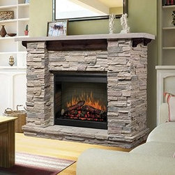 Featherston Electric Fireplace Mantel Package - GDS26-1152LR - If you like the stone slab look, this one is for you. It looks like a nice hefty piece of furniture that would give you years of warmth.
