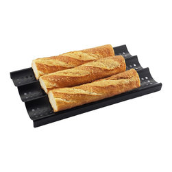 Zen Urban - 3-Loaf Nonstick Perforated Baguette French Bread Pan - -Holes in pan allow complete air circulation around the loaves