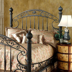 Hillsdale Furniture - Metal Headboard with Ribbed Posts & Scrolled - Choose Size: QueenIncludes headboard and frame. Scrolled side rails. Rustic Old Brown finish. Satin Beige frame. Queen: 67 in. W x 66.25 in. H. King: 83 in. W x 66.25 in. H. Frame: 83.5 in. L x 78 in. WSubstantial and powerful, the Chesapeake bed combines both delicate scrollwork with imposing posts and finials to create an effect that is both grand and elegant. Featuring a versatile rustic old Brown finish and scrolled side rails. The Chesapeake is an eye-catching addition to your home.