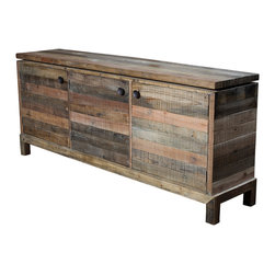 Marco Polo Imports - Stowe Sideboard - This elegant sideboard combines the rustic charm of natural wood with contemporary designs, giving new life to salvaged wood, creating a hand-crafted, singular look, ensuring that each piece is truly unique.