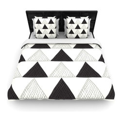 "Kess InHouse - Laurie Baars ""Textured Triangles"" Geometric Abstract Fleece Duvet Cover (Queen, - You can curate your bedroom and turn your down comforter, UP! You're about to dream and WAKE in color with this uber stylish focal point of your bedroom with this duvet cover! Crafted at the click of your mouse, this duvet cover is not only personal and inspiring but super soft. Created out of microfiber material that is delectable, our duvets are ultra comfortable and beyond soft. Get up on the right side of the bed, or the left, this duvet cover will look good from every angle."