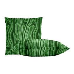 "Cushion Source - Malakos Malachite Throw Pillow Set - The Malakos Malachite Throw Pillow Set consists of 18"" x 18"" cotton throw pillows with a Malachite mineral pattern of various greens."