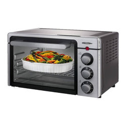 Oster - Oster 6085 6-slice Convection Toaster Oven - This countertop Oster 6085 Convection Toaster Oven features stainless steel accents with a black housing. The convection technology delivers even heating and features adjustable broil for low heat broiling or high broiling.