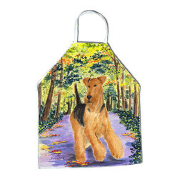 Caroline's Treasures - Airedale Apron - Apron, Bib Style, 27 in H x 31 in W; 100 percent  Ultra Spun Poly, White, braided nylon tie straps, sewn cloth neckband. These bib style aprons are not just for cooking - they are also great for cleaning, gardening, art projects, and other activities, too!