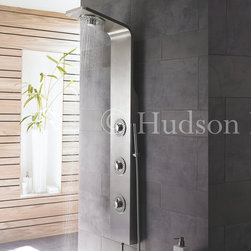 Hudson Reed - Thermostatic Shower Panel Tower System - The Hudson Reed Thermostatic Shower Panel features an inset fixed head with fountain effect, a handset and three body jets.  The minimalist, modern style and finish of this shower panel will complement your new bathroom superbly - and deliver a fantastic showering experience! Hudson Reed Kalypso Thermostatic Shower Panel Details   Three round body jets  Inset fixed head with fountain effect  Pencil hand shower  Thermostatic  gpm: 2.5 gpm (9.5 l/min) max.  This shower system requires a minimum water pressure of 15 psi for a superior showering experience Please note: The fixed head, hand set and body jet functions do not operate simultaneously  See how to install our shower panels