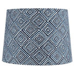 Blue and White Geometric Lampshade