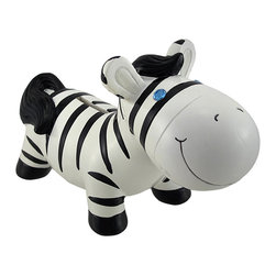 Zeckos - Jewel Eye Zebra Savings Coin Piggy Bank - Bring a touch of Africa to your child's room with this friendly Zebra savings bank With its bejeweled eyes and amicable smile, this savings bank will encourage your children to develop a savings habit early in life. Made of durable polyresin, this savings bank has been hand painted with love and measures 7 1/2 inches long, 5 inches tall, and 3 inches wide. On its underside, this savings bank features a black rubber plug for easy access to its contents.