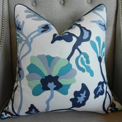 """Made To Order Alan Campbell for Quadrille Potalla Pillow Cover By Elegant Touch - Alan Campbell's """"Potalla"""" from Quadrille Fabrics has to be one of my favorites, and this blue colorway is soothing and beautiful. Mix this pillow with some solid navy velvet and you're in business."""