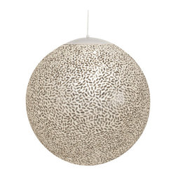 "Worlds Away - Worlds Away 15"" Diameter Capiz Shell Ball Pendant RICE 15 - 15"" diameter capiz shell ball pendant. Comes with 3' white adjustable cord and canopy. Uses (1) 60 watt bulb."