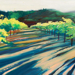 """Ann Rea - Bring home Napa Valley with """"Fading"""" by Ann Rea, an original oil painting - """"I just love the last of late afternoon light leaving Robert Mondavi's famed To Kalon vineyard in Yountville."""" -Ann Rea"""