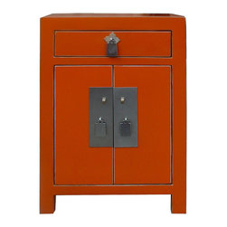 "Golden Lotus - Nightstand End Table Chinese Orange Lacquer Silver Hardware Cabinet - Outside Dimensions: 15.5""Wx12""Dx23.5""H"