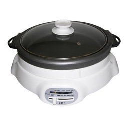 Sunpentown - Shabu Shabu & BBQ Cooker - Features two inter-changeable inner pots, a 3.5 inch deep pot and grill pan. Offers versatile cooking for breakfast, lunch and dinner. Use the grill pan for sausages, egg, pancake, grilled seafood, poultry, steak and etc. Use the pot for delicious Shabu-Shabu or any soup-based dishes. Inner pots are removable for easy cleaning. Features easy to use sliding temperature control.