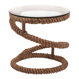 "Imax - Jute Rope Accent Table - Bedford - *Dimensions: 21.75""h x 19.75""w x 19.75"""