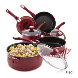Farberware - Farberware New Traditions Speckled Aluminum Nonstick 12-piece Cookware Set - Add refreshing color to the kitchen with the Farberware New Traditions Speckled Aluminum Nonstick 12-piece Cookware Set. The high-performance aluminum cookware boasts bright speckled porcelain enamel exteriors.