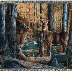 Manual - Broken Silence Deer Family Print Tapestry Throw Blanket 50 Inch x 60 Inch - This multicolored woven tapestry throw blanket is a wonderful addition to your home or cabin. Made of cotton, the blanket measures 50 inches wide, 60 inches long, and has approximately 1 1/2 inches of fringe around the border. The blanket features a print of a family of deer in the forest. Care instructions are to machine wash in cold water on a delicate cycle, tumble dry on low heat, wash with dark colors separately, and do not bleach. This comfy blanket makes a great housewarming gift that is sure to be loved.