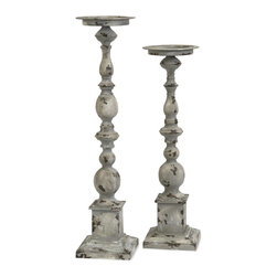 iMax - iMax Hamilton Candle Holders - Set of 2 X-2-28147 - The set of two aged iron candleholders have a subtle overstated simplicity that makes the Hamilton candleholders look great in a variety of settings. Holds pillar candles.