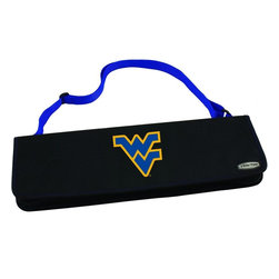 """Picnic Time - West Virginia University Metro BBQ Tote in Blue - The Metro BBQ Tote stands out among other portable barbecue tool sets. It's a 3-piece BBQ tool set with silicone handles in an attractive black polyester zip-up case with an adjustable shoulder strap to match the handles of the tools inside. It includes three stainless steel tools: 1 large spatula featuring a built-in bottle opener, grill scraper, and serrated edge for cutting (17.5"""") , 1 BBQ fork (17""""), and 1 pair of tongs (16.5""""). All three tools have long handles to keep your hands away from the flames and metal loops at their ends to hang them on your barbecue. Why not add a little color to your day with the Metro BBQ Tote?; College Name: West Virginia University; Mascot: Mountaineers; Decoration: Digital Print; Includes: Includes three stainless steel tools: 1 large spatula featuring a built-in bottle opener, grill scraper, and serrated edge for cutting (17.5"""") , 1 BBQ fork (17""""), and 1 pair of tongs (16.5""""). All three tools have long handles to keep your hands away from the flames and metal loops at their ends to hang them on your barbecue."""