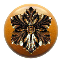"""Inviting Home - Opulent Flower Maple Wood Knob (bright brass) - Opulent Flower Maple Wood Knob with hand-cast bright brass insert; 1-1/2"""" diameter Product Specification: Made in the USA. Fine-art foundry hand-pours and hand finished hardware knobs and pulls using Old World methods. Lifetime guaranteed against flaws in craftsmanship. Exceptional clarity of details and depth of relief. All knobs and pulls are hand cast from solid fine pewter or solid bronze. The term antique refers to special methods of treating metal so there is contrast between relief and recessed areas. Knobs and Pulls are lacquered to protect the finish. Alternate finishes are available. Detailed Description: The Opulent Scroll pulls add an amazing focus to any drawers or cabinets - it will make them look regal and majestic. The absolute perfect place for these pulls to be used is in the dining room on your china closet. They are great pulls to use if you are trying to punch up an antique piece of furniture or cabinet. You should consider using the Opulent Scroll pulls in combination with the Opulent Flower knobs or wood knobs with flower."""