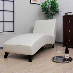 None - Cleo Creme Leather Chaise - This stylish leather chaise adds a comfortable seating option to your living room,bedroom or den. Featuring a modern design and strong wood construction,the cream lounge chair is coated with polyurethane to help to guard against spills.