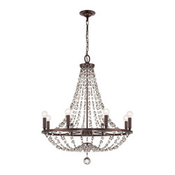 Crystorama - Channing Chandelier - Do something stately yet sparkling in your favorite formal setting. This chandelier boasts lengths of elegant beads to bring dazzle and drama to your decor.