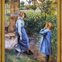 "Camille Pissarro-16""x20"" Framed Canvas - 16"" x 20"" Camille Pissarro A Young Woman and Child at the Well framed premium canvas print reproduced to meet museum quality standards. Our museum quality canvas prints are produced using high-precision print technology for a more accurate reproduction printed on high quality canvas with fade-resistant, archival inks. Our progressive business model allows us to offer works of art to you at the best wholesale pricing, significantly less than art gallery prices, affordable to all. This artwork is hand stretched onto wooden stretcher bars, then mounted into our 3"" wide gold finish frame with black panel by one of our expert framers. Our framed canvas print comes with hardware, ready to hang on your wall.  We present a comprehensive collection of exceptional canvas art reproductions by Camille Pissarro."