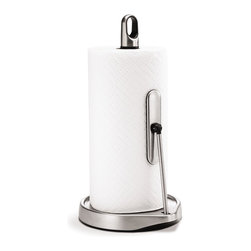 simplehuman - Tension Arm Paper Towel Holder - Quite simply the easiest paper towel holder you ever used, gently keeping the roll in place for one-handed dispensing every time. Made of durable stainless steel, it's got a finger loop handle and a weighted base to keep it steady.