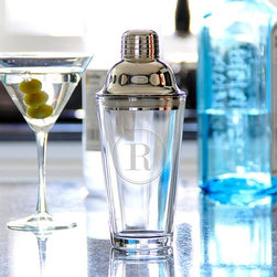 Home Decorators Collection - Monogram Cocktail Shaker - Our Monogram Cocktail Shaker will help you create the perfect drink in personalized style. The tapered glass body is easy to hold and keeps your cocktail ingredients in view; the shiny stainless steel lid features a strainer and rubber seal for perfect pouring. Made of stainless steel and glass. Includes removable lid with strainer and rubber seal. May be etched with either one block initial or two block initials.