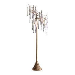 Artistic Floor Lamps - This stunning Stalavidri lamp consists of multi-colored spires that are suspended stylishly from branches.