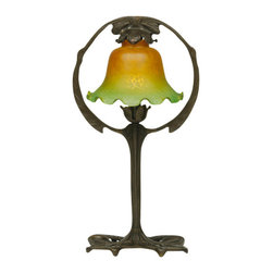 """Meyda - 17""""H French Amber And Green Accent Lamp - Bring warm elegance into your home with this fluted shade in amber green art glass colors. Inspired bythe art nouveau movement in france, the delicate shade is complemented with a unique ring base handfinished in mahogany bronze. Bulb type: cndl bulb quantity: 1 bulb wattage: 40"""