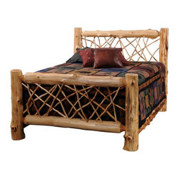 Fireside Lodge Furniture - Cedar Twig Style Complete Log Panel Bed (Sing - Choose Size: SingleCedar Collection. Includes headboard, foot board, full log side rails and slats. Mattress, bed sheet, shams and pillows not included. Northern White Cedar logs are hand peeled to accentuate their natural character and beauty. Clear coat catalyzed lacquer finish for extra durability. All headboards are 53 in. high and foot boards are 35 in. high. Full log side rails for a sturdy construction. 2-Year limited warranty. Single: 87 in. L x 45 in. W x 53 in. H (105 lbs.). Double: 87 in. L x 58 in. W x 53 in. H (165 lbs.). Queen: 92 in. L x 64 in. W x 53 in. H (180 lbs.). King: 94 in. L x 82 in. W x 53 in. H (200 lbs.). California king: 97 in. L x 76 in. W x 53 in. H (200 lbs.)