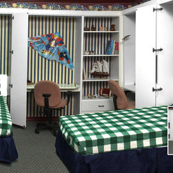 Murphy twin beds with double desks open and closed bi-fold doors -