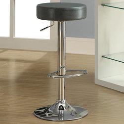 Monarch - Charcoal Grey/Chrome Metal Hydraulic Barstool - Set of 2 - Add a contemporary flair with this 2 piece hydraulic lift bar stool set. Its unique rich grey seat is comfortable and its sturdy chrome metal round base accentuate this piece. The convenient foot rest and 360 degree swivel bring a rich sensation and a high range elegance all of your decor.
