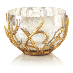 Silver Mercury Glass Bowl - It bears the beauty of woodlands in winter, when a shimmering snow is framed by the spare splendor of branches that appear to be the makings of an artist's hands. The Silver Mercury Glass Bowl presents a silvered bowl gently encased in a hand-finished gold leaf branch. Placed atop an occasional table, sideboard, or window ledge, the bowl bestows an enchanting earthen aesthetic to your formal or casual decor.